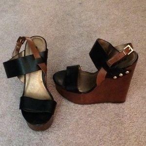 Soda Black wedge sandals